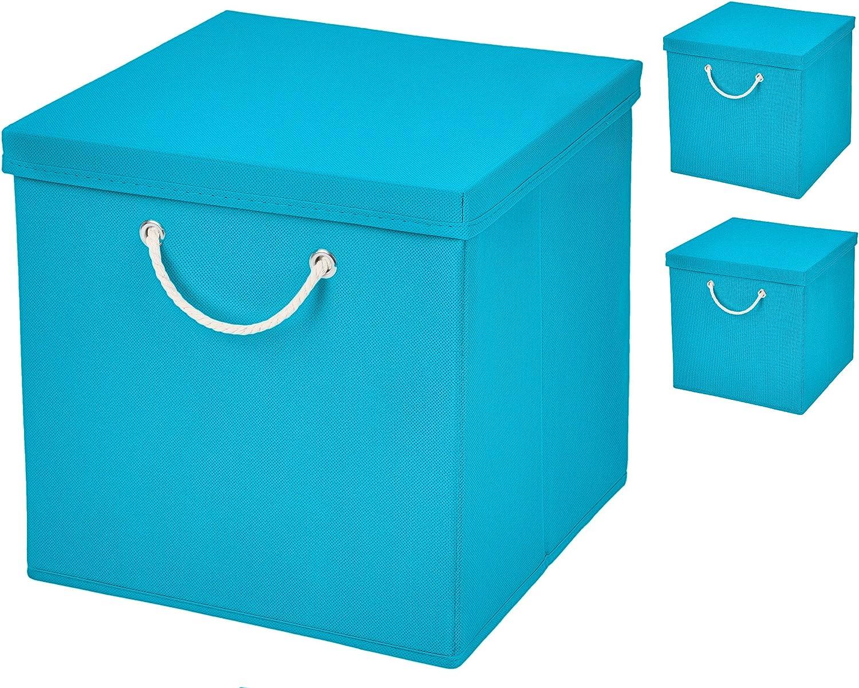 3 pieza turquesa – Caja plegable (30 x 30 x 30 cm Caja Plegable ...