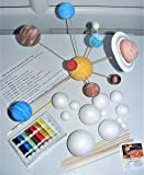 Make Your Own Solar System Model Kit ~ 12 Mixed Sized Polystyrene Spheres / Balls 2cm to 7cm Diameter with Wooden Rods Paints Brush School Projects