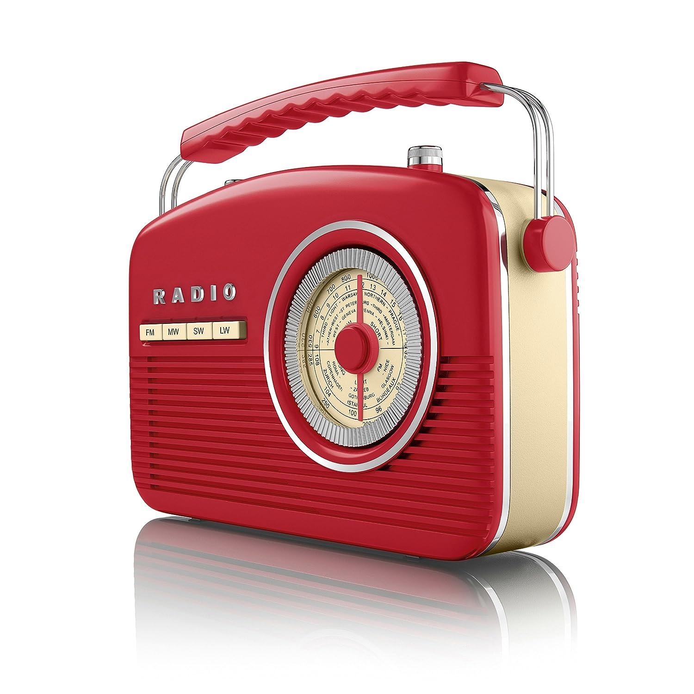 office radios. Akai A60010R Portable 4 Band Retro FM Radio, 14 W - Red: Amazon.co.uk: TV Office Radios