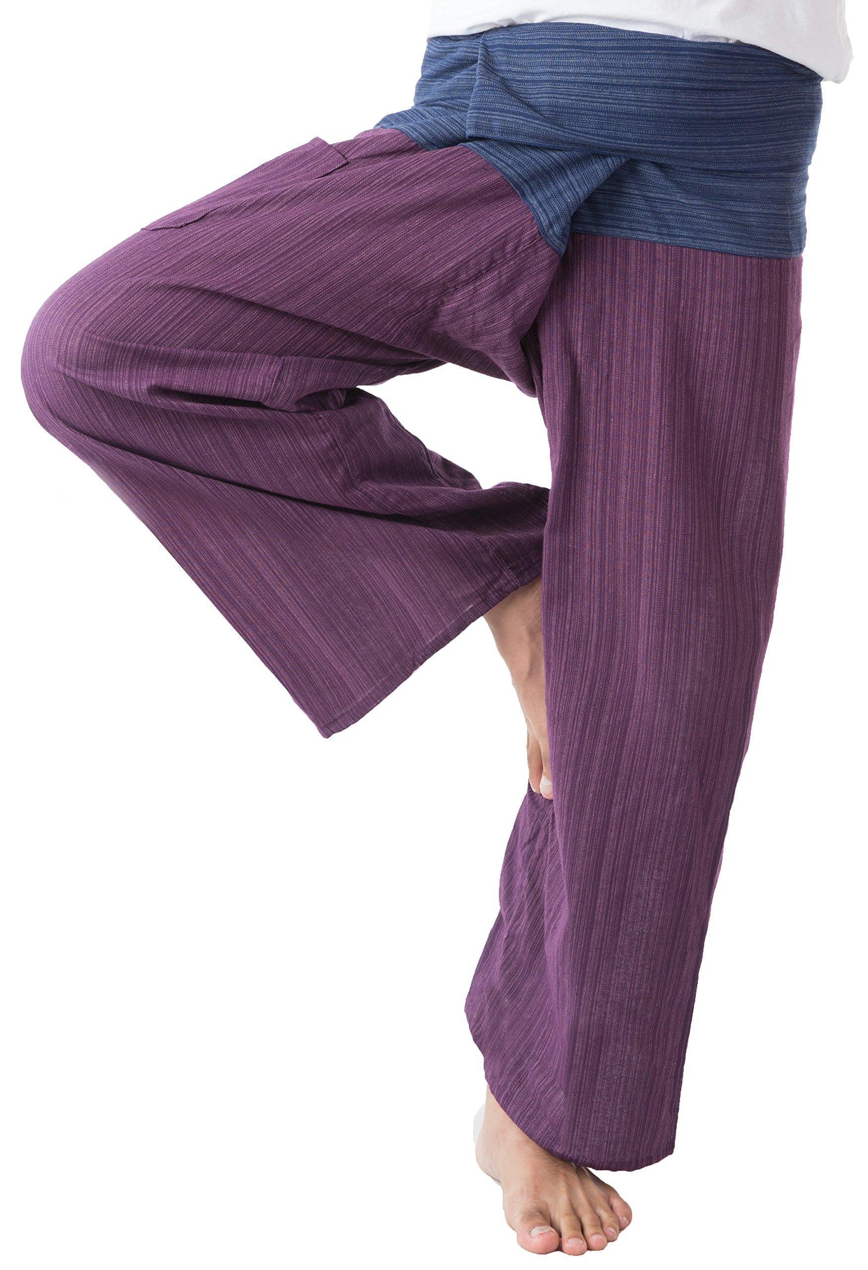 Thai Fisherman Pants Men's Yoga Trousers Blue and Maroon 2 Tone Pant by MEMITR
