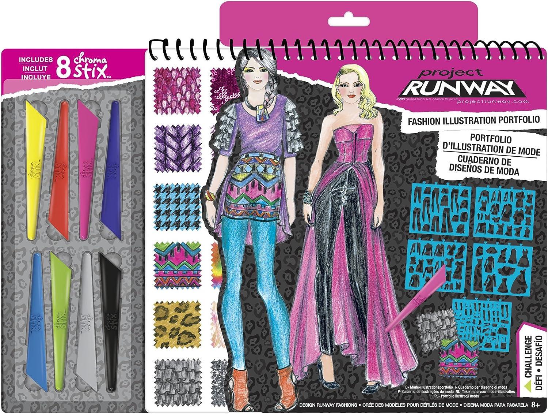 Amazon Com Fashion Angels Project Runway Fashion Illustration Portfolio With Chroma Stix Toys Games