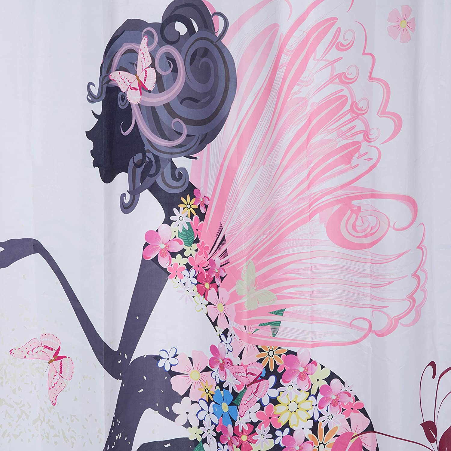 Beddingleer 180cm X180cm Butterfly Girl Pink Curtain Waterproof Mouldproof Fabric Bathroom Shower Curtain with Hooks Nature Series 71x71 Inch