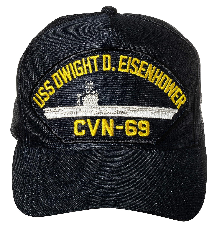 United States Navy USS Dwight D Eisenhower CVN-69 Aircraft Carrier Ship Emblem Patch Hat Navy Blue Baseball Cap