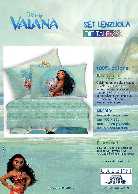 Set Lenzuola Copriletto Stampa Digitale Caleffi Disney Vaiana Oceania 100/% cotone