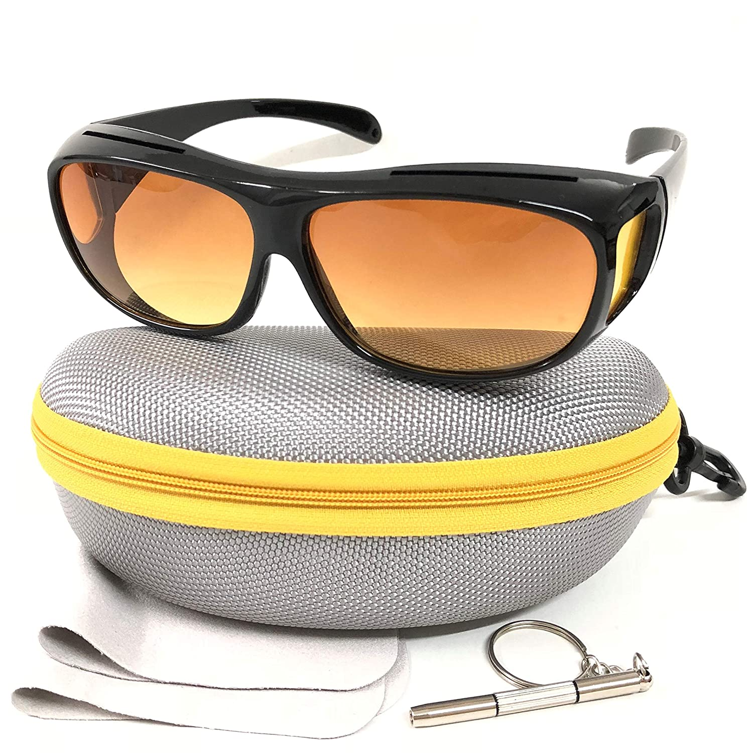 Fit Over Prescription Glasses with HD Polarized Yellow Lens Night Driving Glasses with Case, Wrap Around Night Vision Glasses