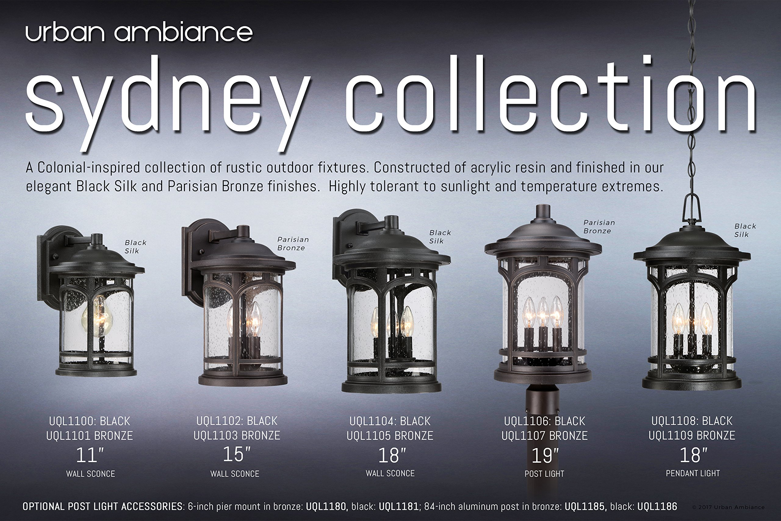 Luxury Rustic Outdoor Pendant Light, Large Size: 18''H x 11''W, with Colonial Style Elements, Wrought Iron Design, Oil Rubbed Parisian Bronze Finish and Seeded Glass, UQL1109 by Urban Ambiance by Urban Ambiance (Image #6)
