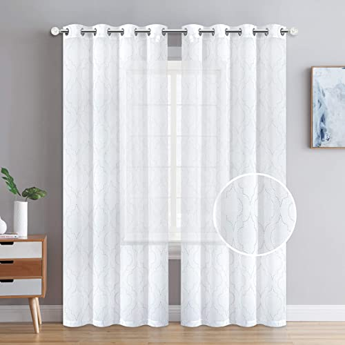 Nice Home White Sheer Curtains Silver Foiled Printed Grommet Sheer Window Curtains for Dining Room Curtains for Spring, Set of 2pieces 2, 52 x 96