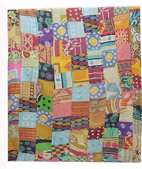 Majisacraft - Colcha India Hecha a Mano, diseño Vintage de Patchwork Kantha, Manta de algodón con diseño Surtido ...