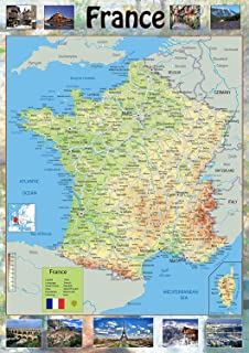 France Physical Map Paper Laminated A0 Size 841 x 1189 cm