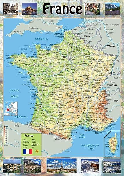 Cartina Topografica Della Francia.Carta Geografica Della Francia Poster Laminato Di Carta A1 Size