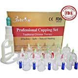 Chinese Acupuncture Cupping Therapy Set - FDA Approved Medical Grade Professional Cupping Kit (14 Cups Guaranteed 5-Yr Life Span) - Free Extension Tube, Pump Gun, English Manual Included