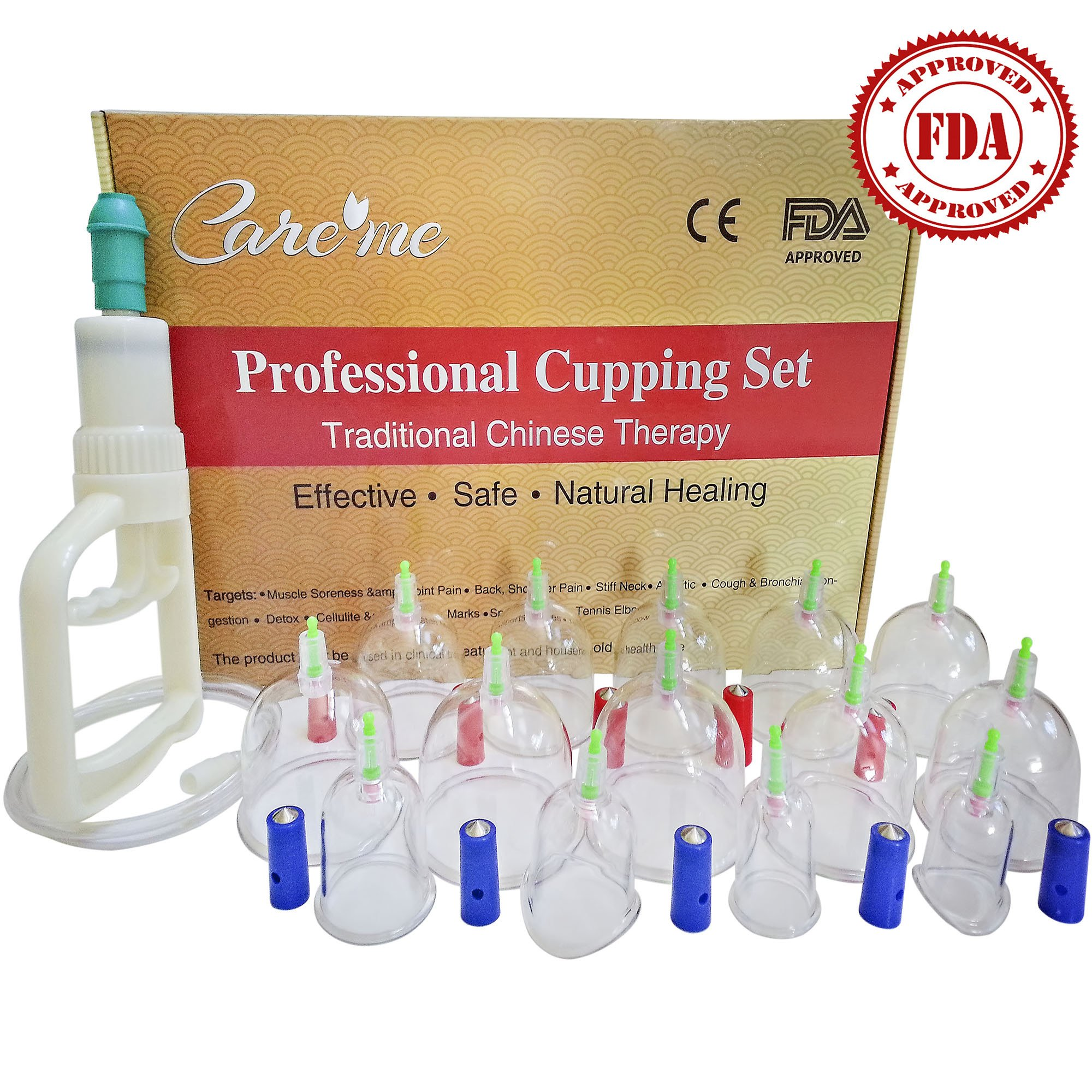 Chinese Acupuncture Cupping Therapy Set-FDA Approved Medical Grade Professional Cupping Kit (14 cups Guaranteed 5-Yr Life)For Body Massage, Pain Relief, Physical Therapy–Improve Your Health & Wellness