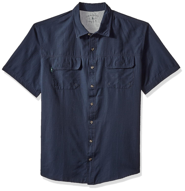 Mens Big and Tall Explorer Short Sleeve Button Down Fishing Shirt Solid Flap Pocket G.H Bass /& Co