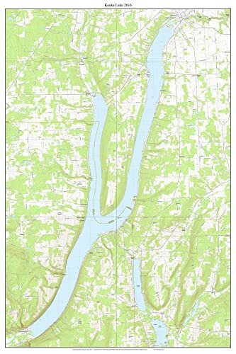 Keuka Lake - 2016 USGS Topographic Map Custom Composite Reprint New on