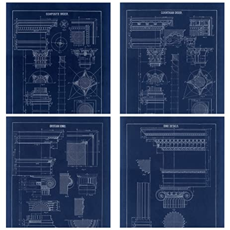 Amazon architectural blueprint column drawings 4 piece set architectural blueprint column drawings 4 piece set composite corinthian grecian ionic orders gallery malvernweather Image collections