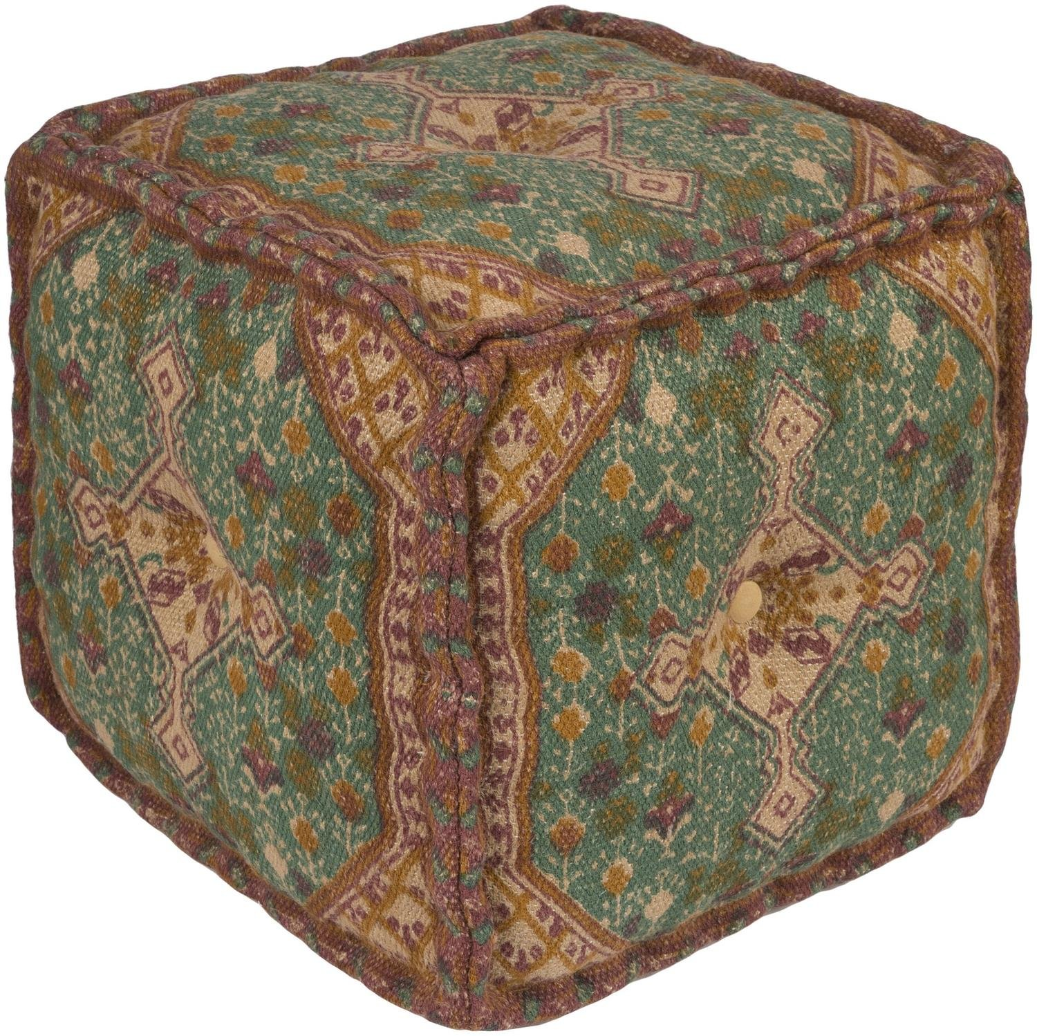 18'' Brown and Green Traditional Designed Woven Square Indoor Pouf Ottoman