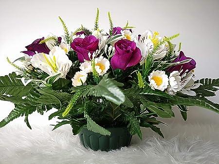 Les Fleurs sont Aussi de tr/ès Bonne Tenue et qualit/é. roselynexpress Composition de Fleurs artificielles lest/é Ciment pour Une Parfaite Tenue /à l ext/érieur R/éalis/é par nos Soins