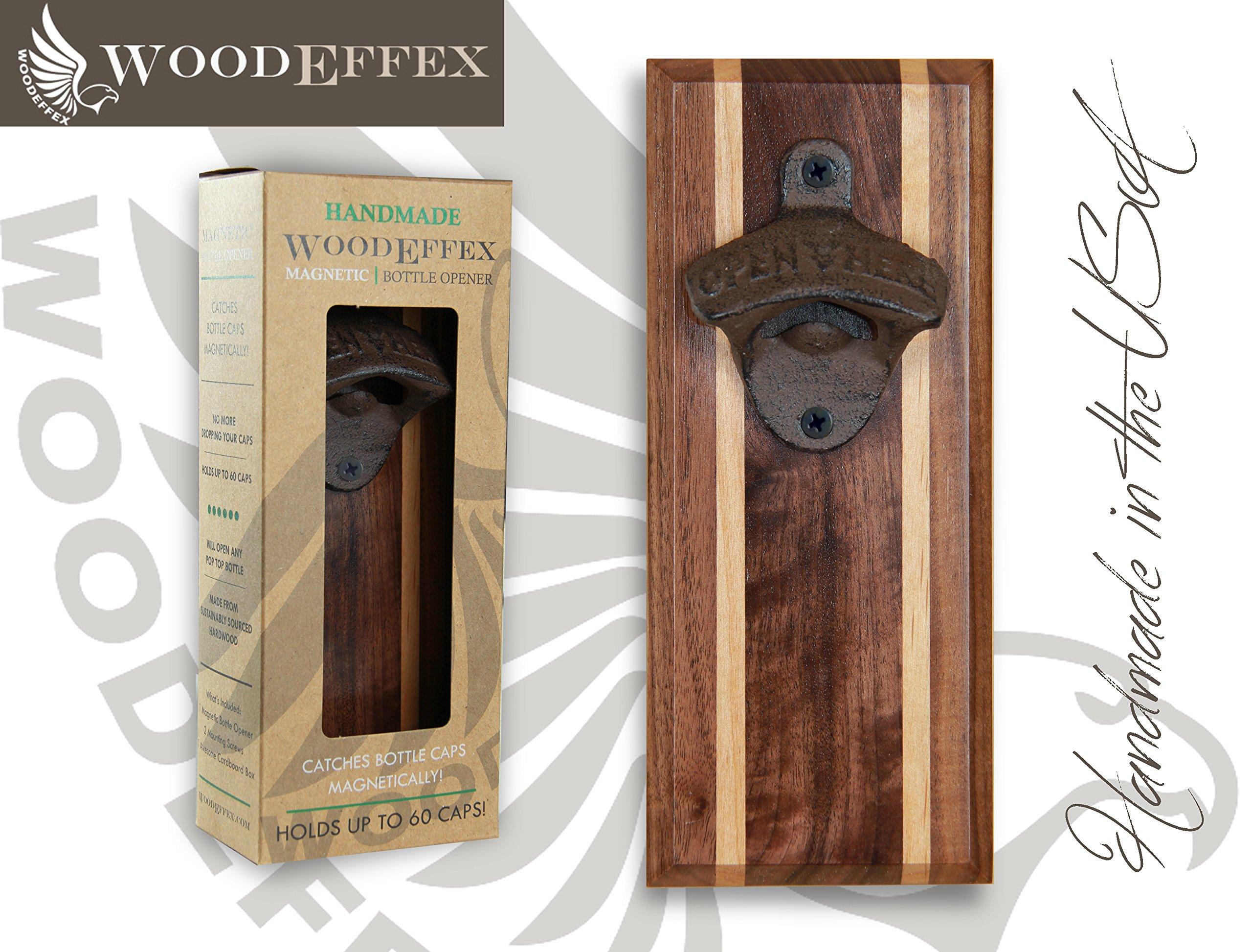 Bottle Opener Magnetic Cap Catcher - Handmade Walnut with Alder Inlay with Dark Oil Bronze Opener - No Personalization