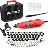 Populo High Performance Rotary Tool Kit with 107 Accessories, 3 Attachments, Variable Speed, Flex Shaft and Universal…