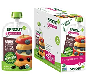 Sprout Organic Stage 2 Baby Food Pouches with Plant Powered Protein, Butternut Blueberry Apple w/ Beans, 3.5 Ounce (Pack of 12)