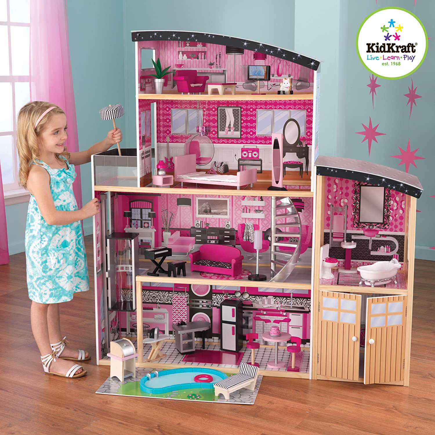 KidKraft Sparkle Mansion Dollhouse 30 furniture pieces and accessories doll house for barbies 12 inch fashion dolls