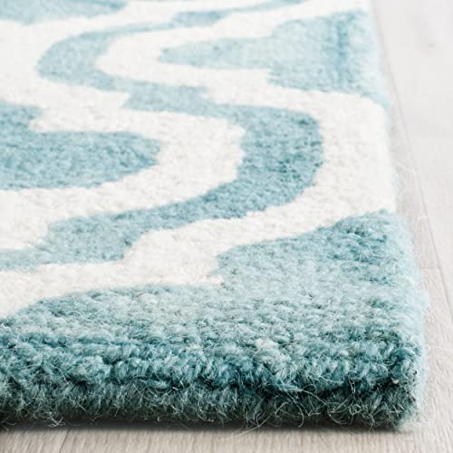 Safavieh Dip Dye Collection DDY537D Handmade Vibrant Geometric Moroccan Watercolor Turquoise and Ivory Wool Runner 2 3 x 8