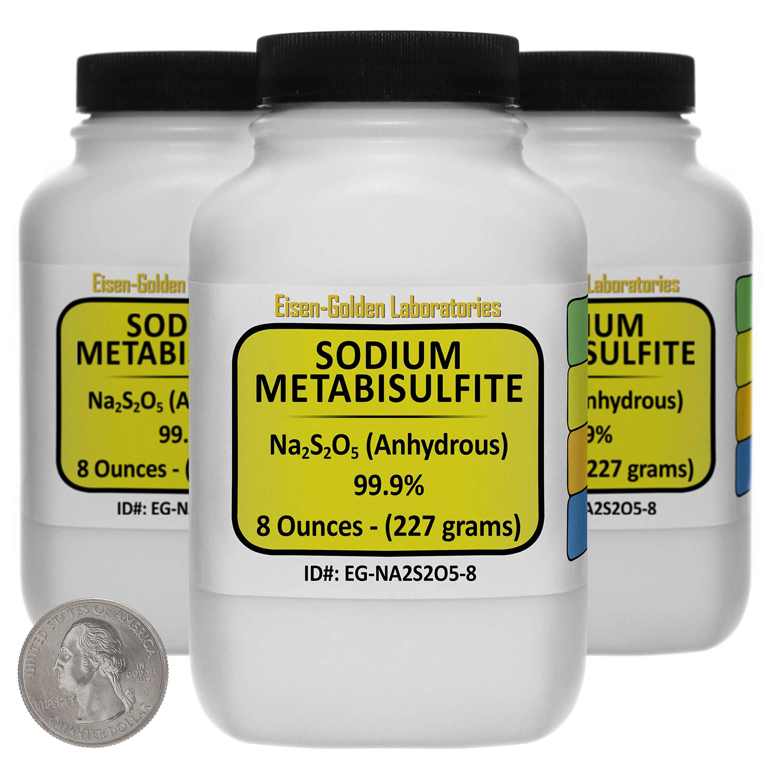 Sodium Metabisulfite [Na2S2O5] 99.9% ACS Grade Powder 1.5 Lb in Three Space-Saver Bottles USA