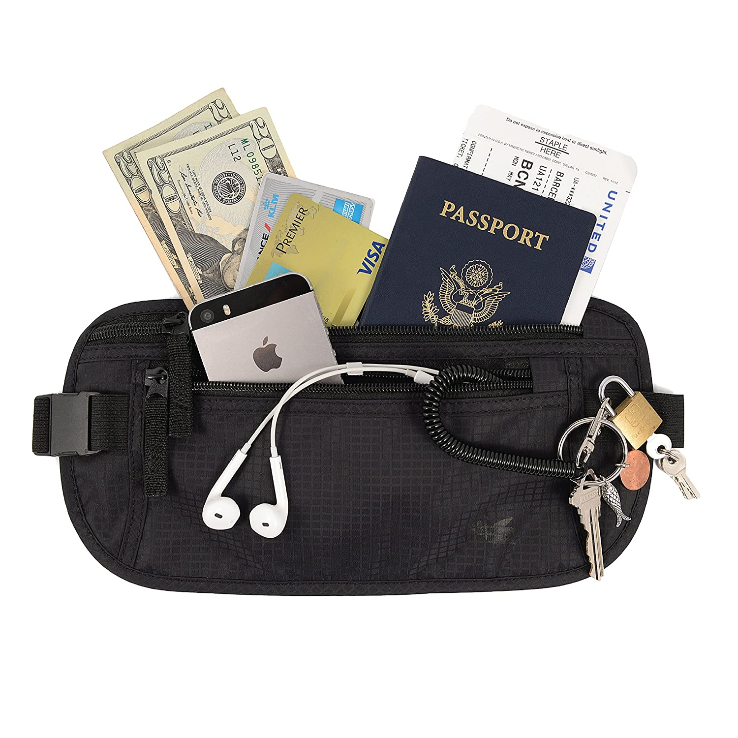 Invisible money belt by Nomalite | Slim fanny pack / hidden zip waist pouch with 3 pockets for women and men. Waterproof and anti RFID theft. For travel, also ideal for gym, running, hiking, cycling.