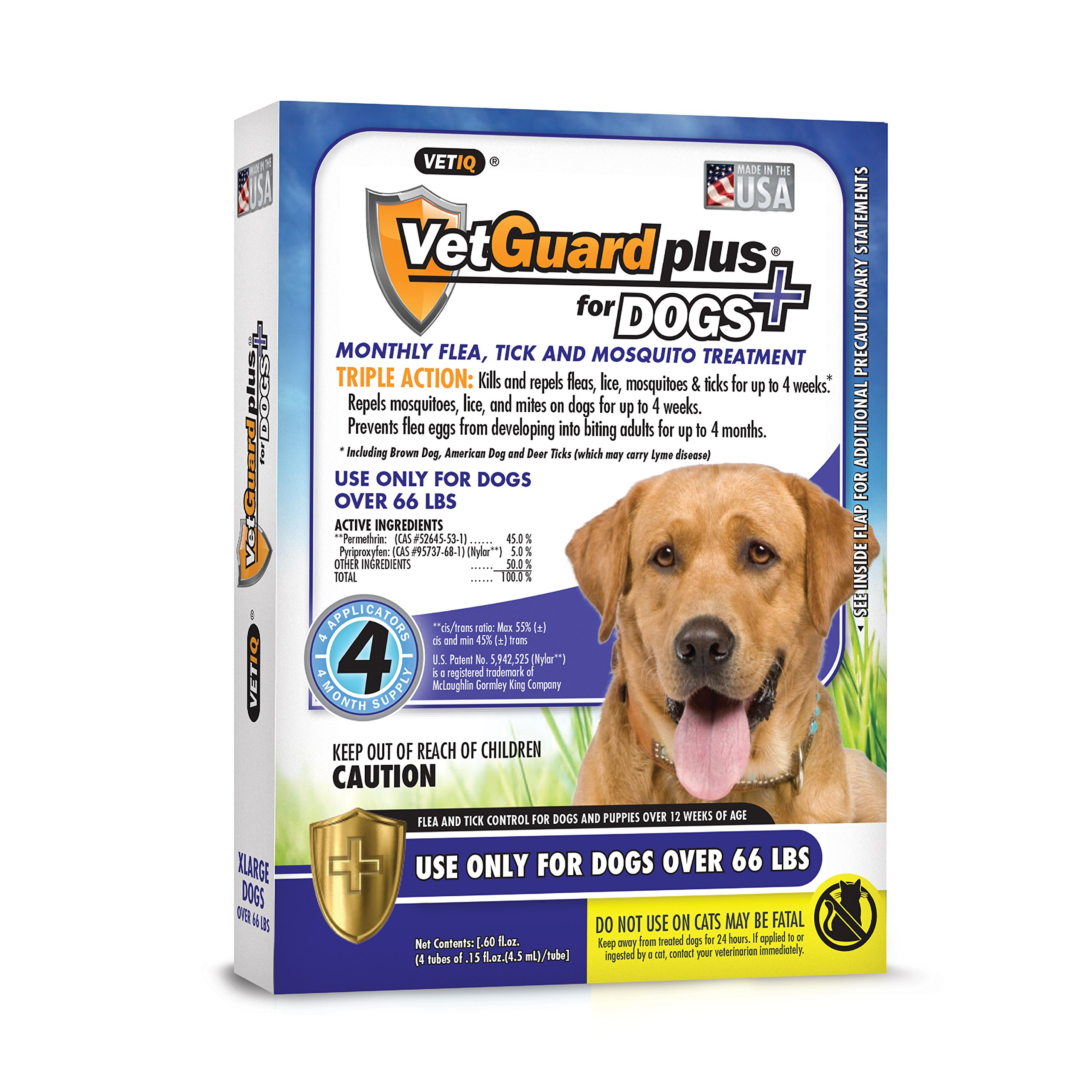 VetGuard Plus Flea & Tick Treatment X-Large Dogs, Over 66 lbs, 4 Month Supply