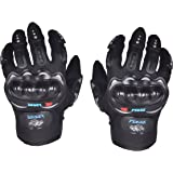 Hiver Full Finger Motorcycle Riding Racing Biking Driving Motorcycle Gloves - Medium Gloves (Dark Black)