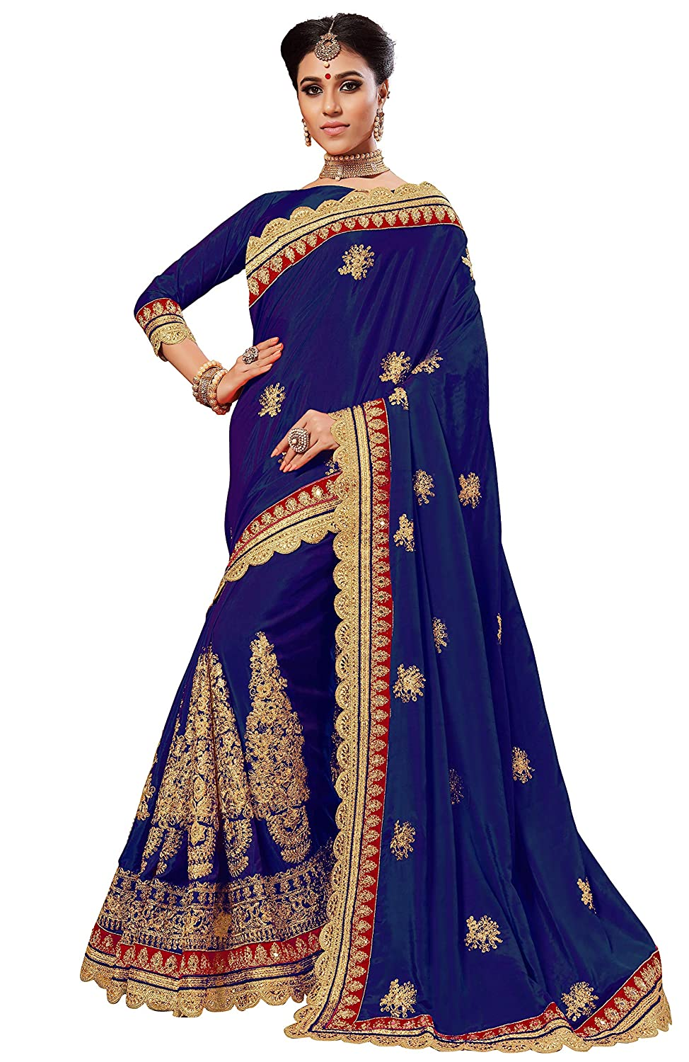 bluee Nivah Fashion Women's Silk Embroidery & Codding work With Diamond Material Saree
