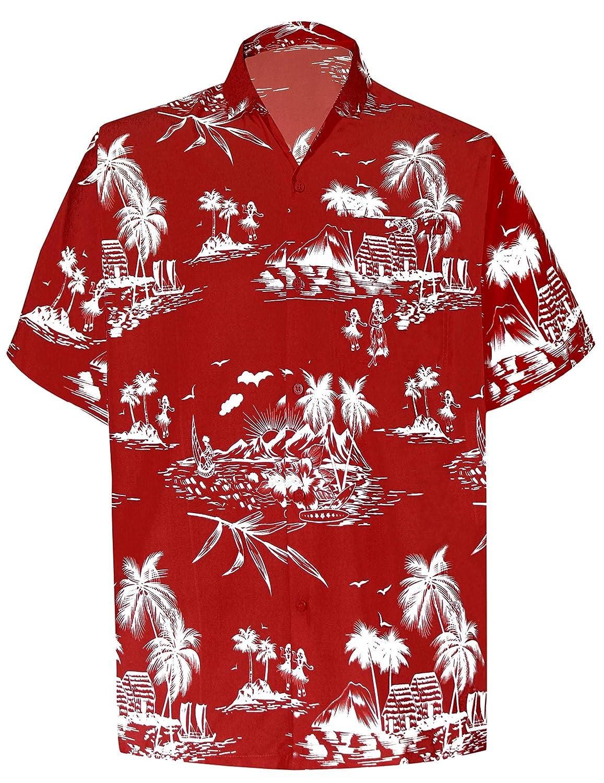 TALLA L - Pecho Contorno (in cms) : 111 - 121. LA LEELA | Funky Camisa Hawaiana | Señores | XS-7XL | Manga Corta | Bolsillo Delantero | impresión De Hawaii | Playa |diferentes colores | para la Playa Fiestas, Verano y Vacaciones 1911