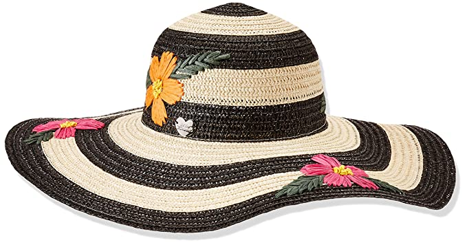 397596a4c3b462 Betsey Johnson Women's Floral Bliss Floppy Hat, Black, One Size at ...