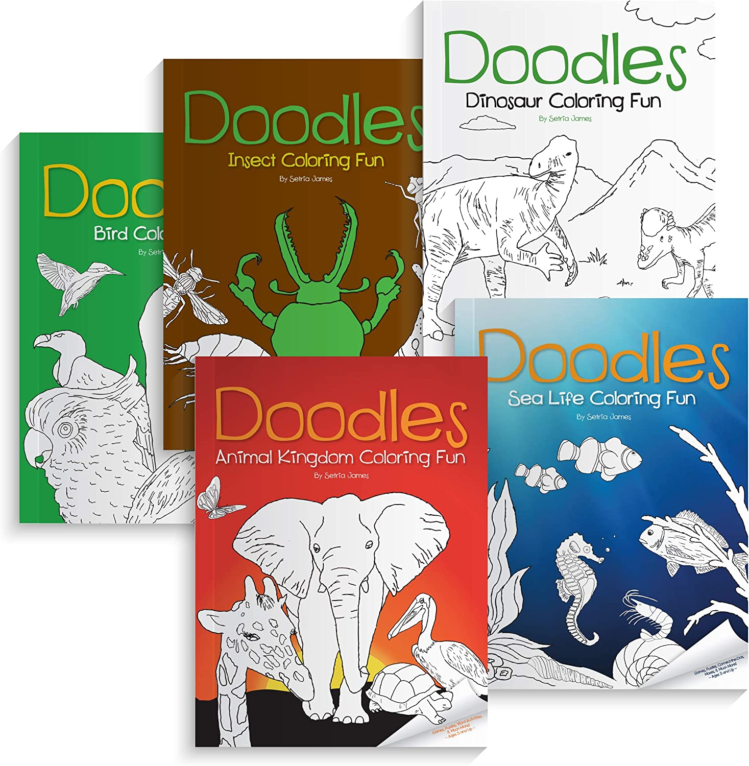Animal Coloring Book Set - Kids Poster, Games, and Decorations - Fun-Filled Pictures for Kindergarten, Preschool, Educational Classroom Settings - Bird, Dinosaur, Sea Life, Insect Drawing Fun