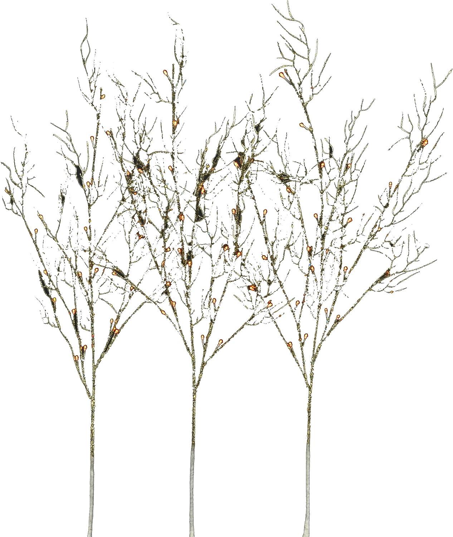 2-Peice Silver Glitter Hi-Line Gift Ltd  37386-72 72 Liter Floral Lights Coral Branch Lights Min and Up