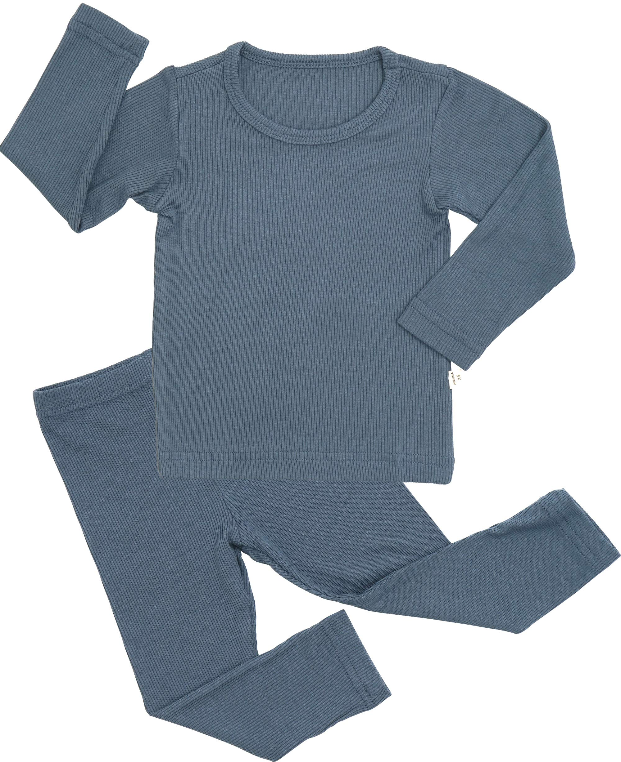 AVAUMA Baby Boy Girl Long Sleeve Ribbed Pajamas Set Snug-Fit Fall Winter Pjs Sleepwear Kids Toddler (M/Blue) by AVAUMA