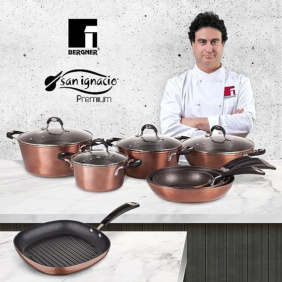 San Ignacio Bater/ía de cocina Sart/én /Ø16 Cazo /Ø16 y 2 Cacerolas con tapa: /Ø24 y /Ø28x15 cm aluminio forjado inducci/ón