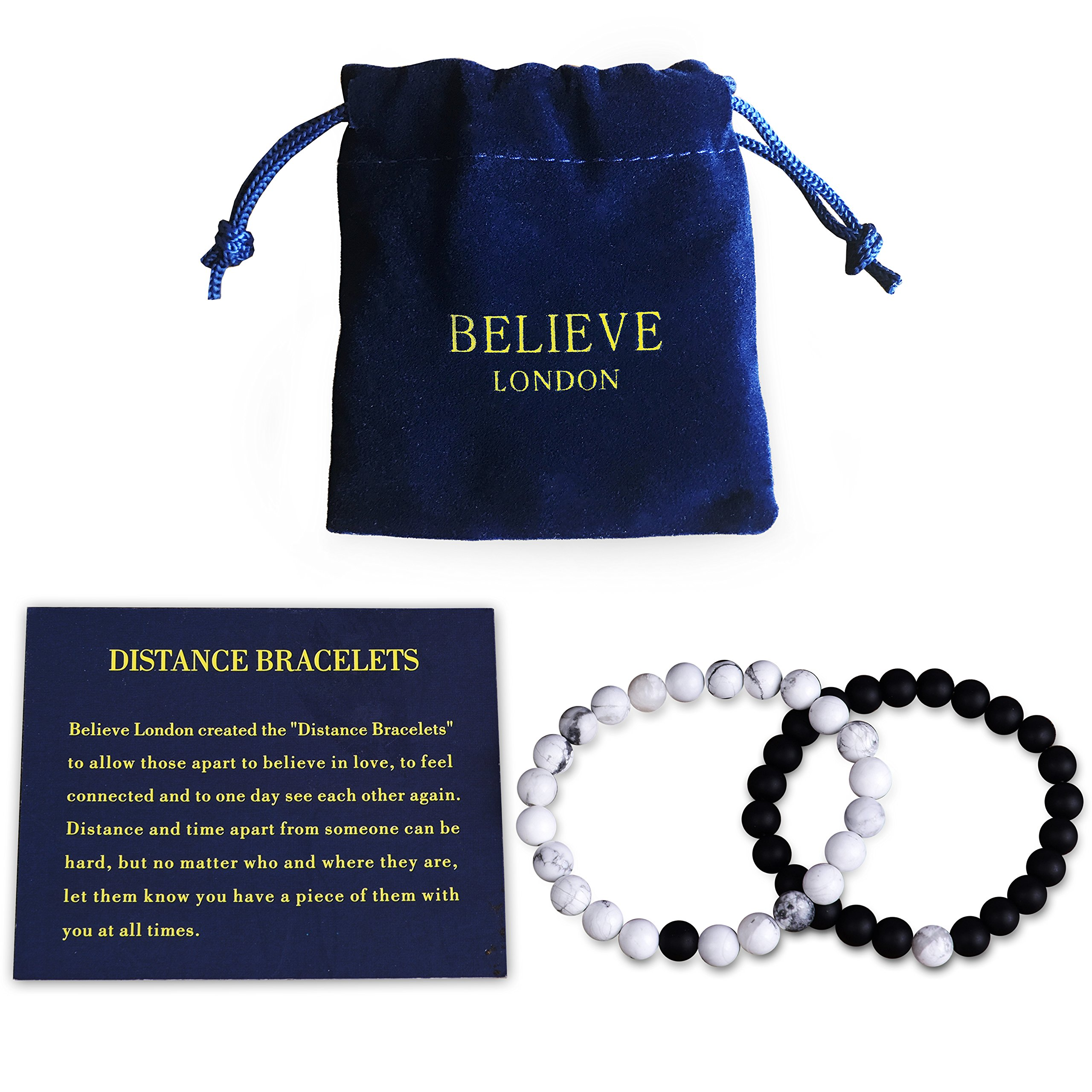 Believe London Distance Bracelets with Jewelry Bag & Meaning Card | Strong Elastic | Friendship Relationship Couples His Hers | Black Agate Onyx White Howlite Bracelet (Adjustable Length Black Chain)