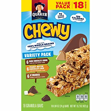 Gentil Quaker Chewy Granola Bars, Variety Value Pack, 18 Bars