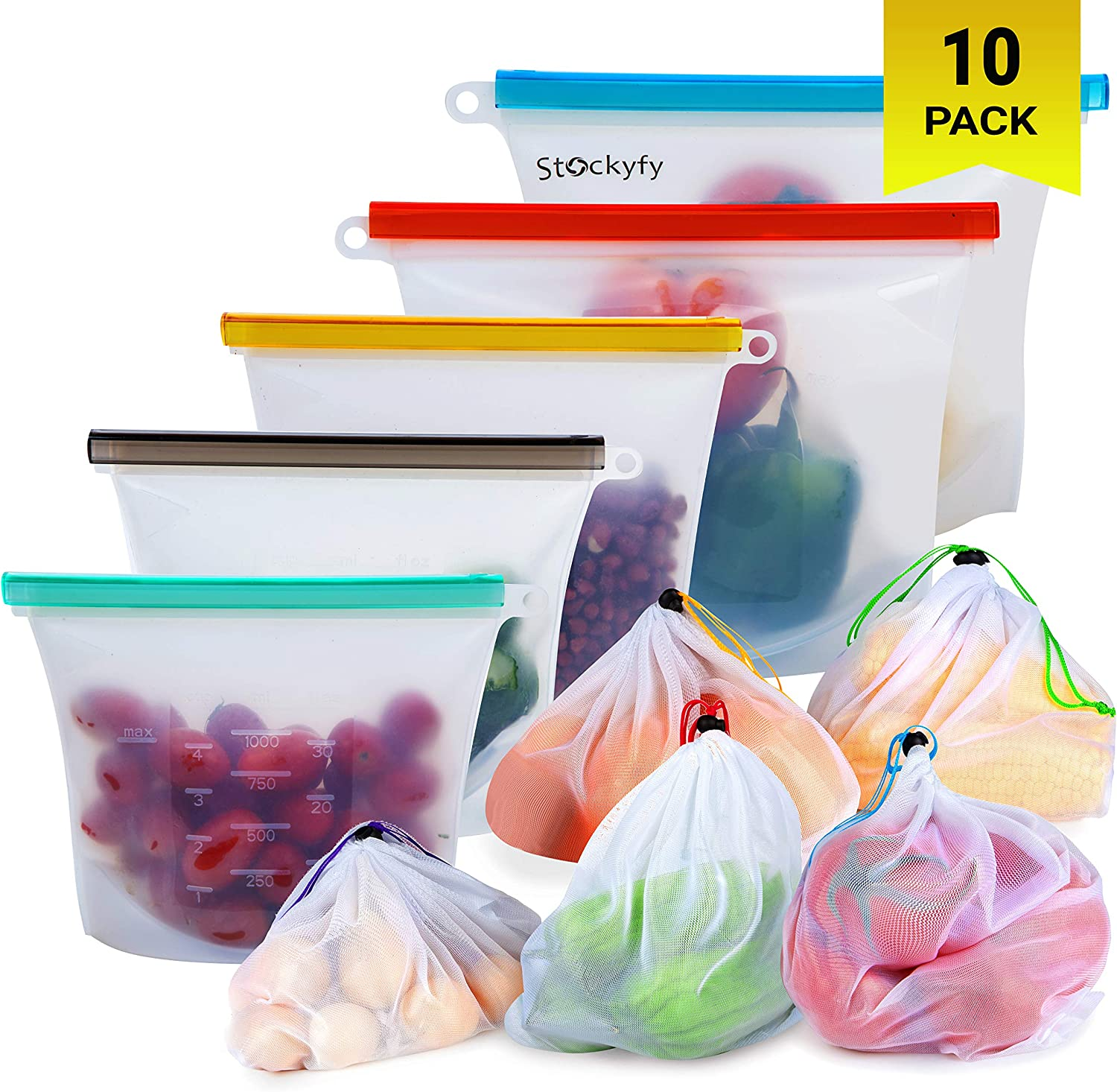Reusable Silicone Food Storage Bags with Mesh Produce Bags (10-pack) Eco Friendly Food Storage Meal Prep | Freezer Containers Airtight Lunch Bags preserving cooking Kitchen Saver