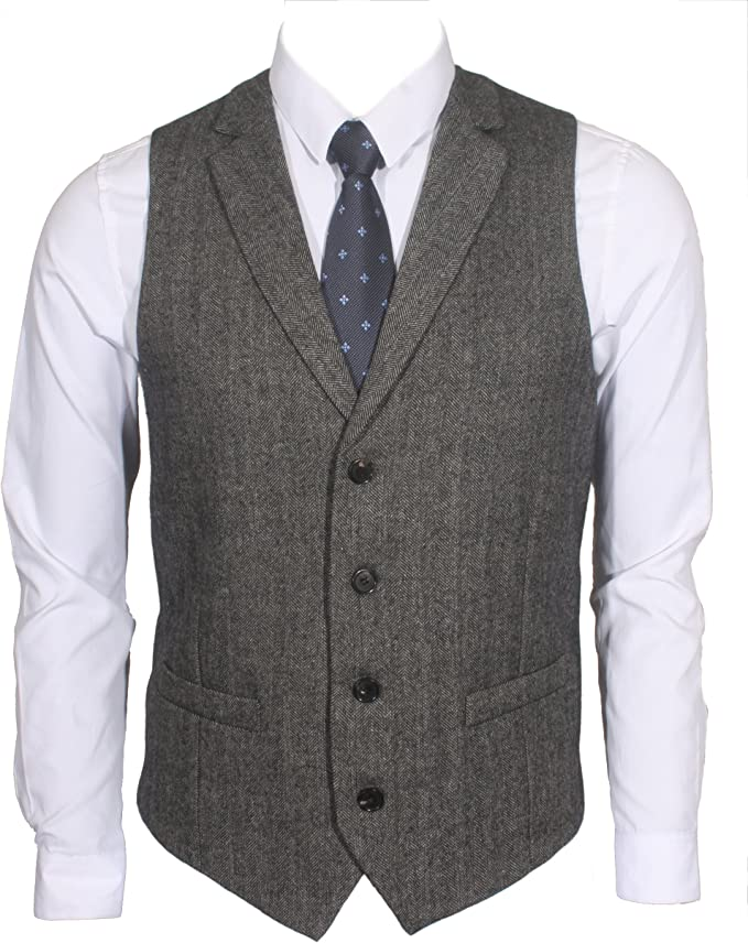 1920s Men's Fashion UK | Peaky Blinders Clothing Ruth&Boaz 2Pockets 4Buttons Wool Herringbone/Tweed Tailored Collar Suit Waistcoat £31.90 AT vintagedancer.com