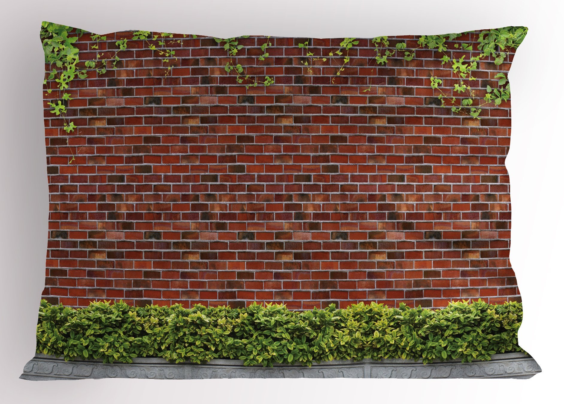 Lunarable Brick Wall Pillow Sham, Brick Wall with Creeper Plants and Leafs Natural Beauty Pattern Print, Decorative Standard Size Printed Pillowcase, 26 X 20 inches, Tile Red Green White