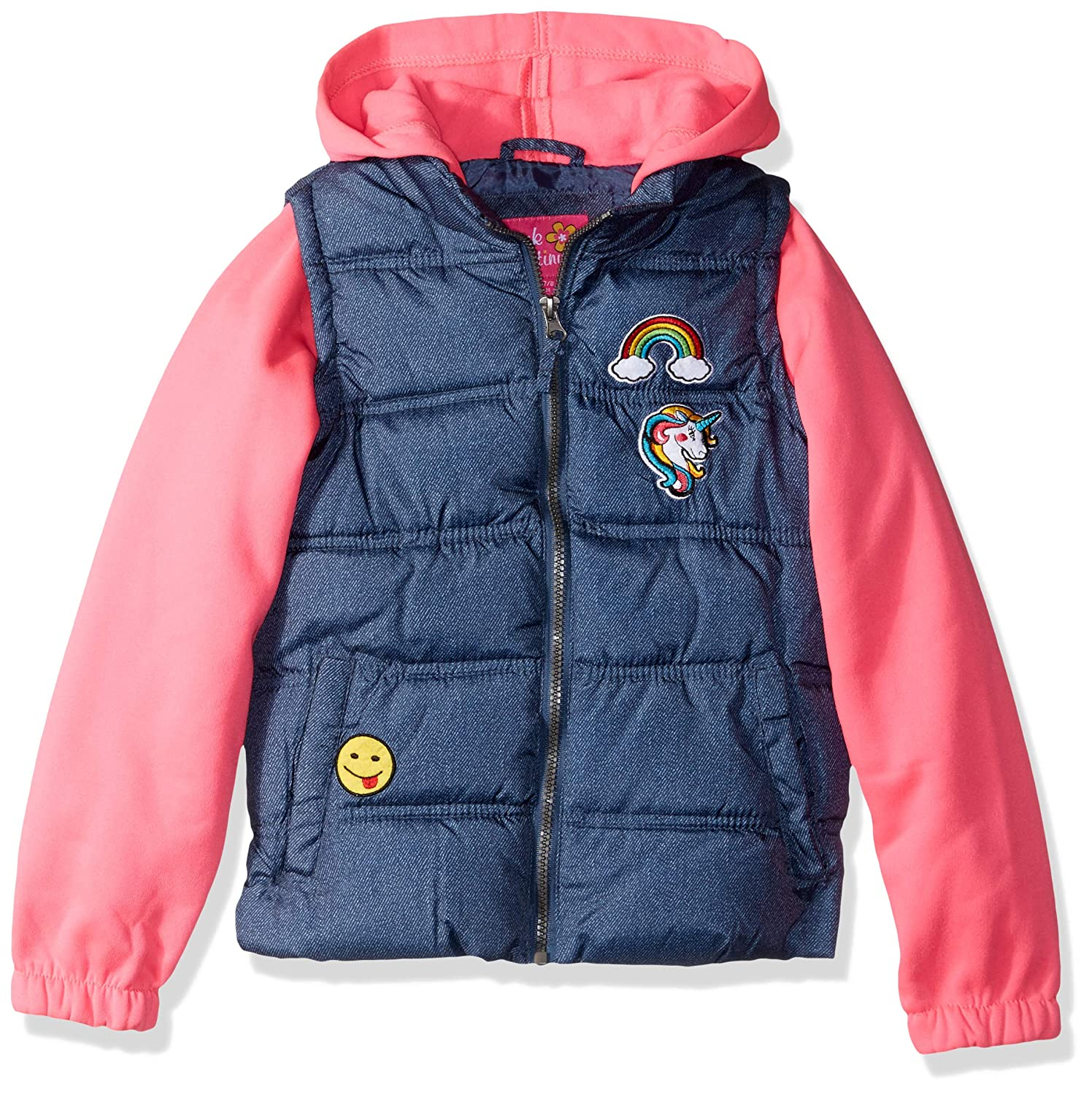 Pink Platinum Girls Patch Vest with Fleece Hood and Sleeves