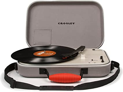 Crosley Messenger Portable Battery Powered 3-Speed Turntable, Grey ...