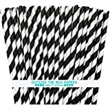 Outside the Box Papers Striped Paper Straws 7.75 Inches Pack of 100 Black, White