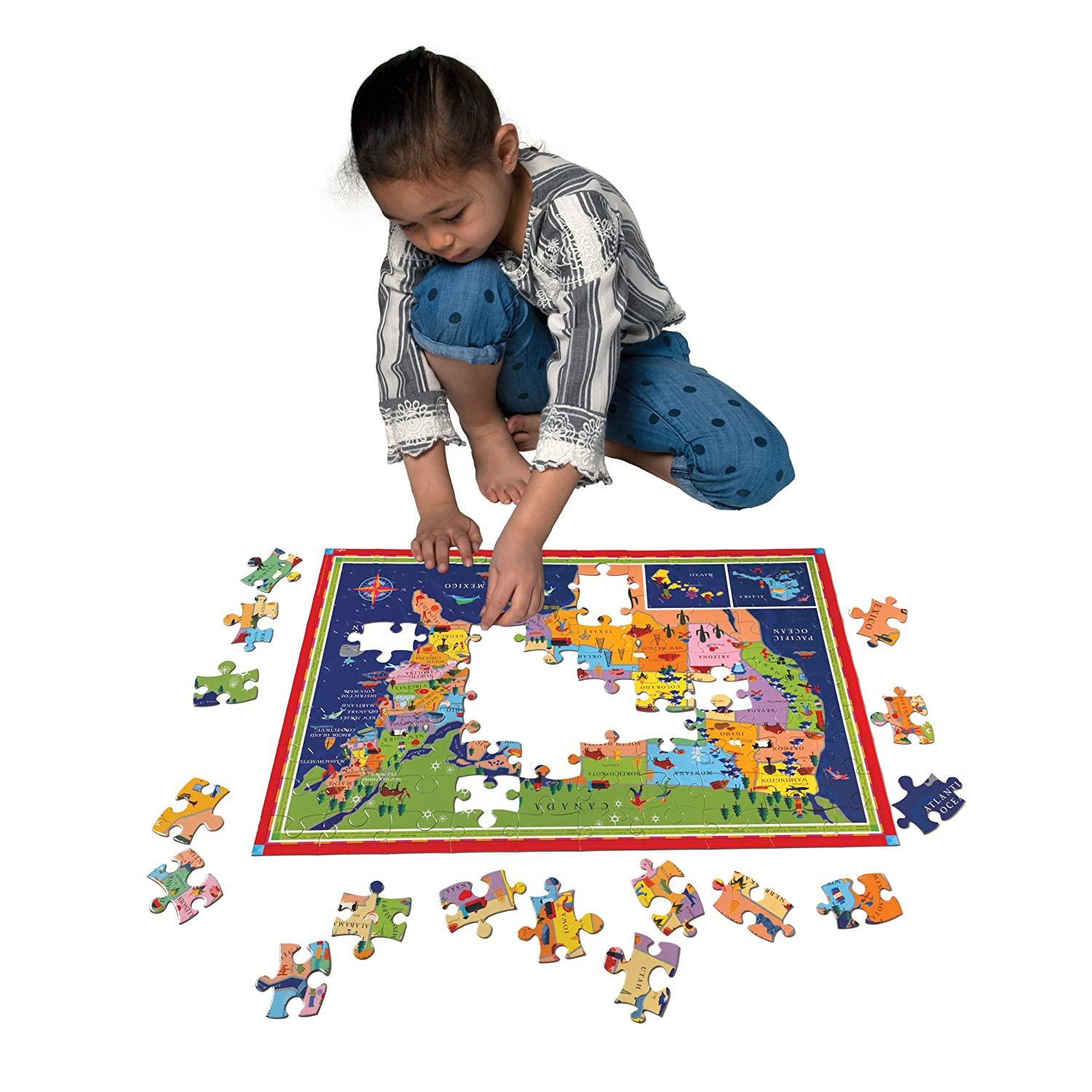 Amazoncom EeBoo United States Map Puzzle  Pieces Toys  Games - Florida map jigsaw puzzle