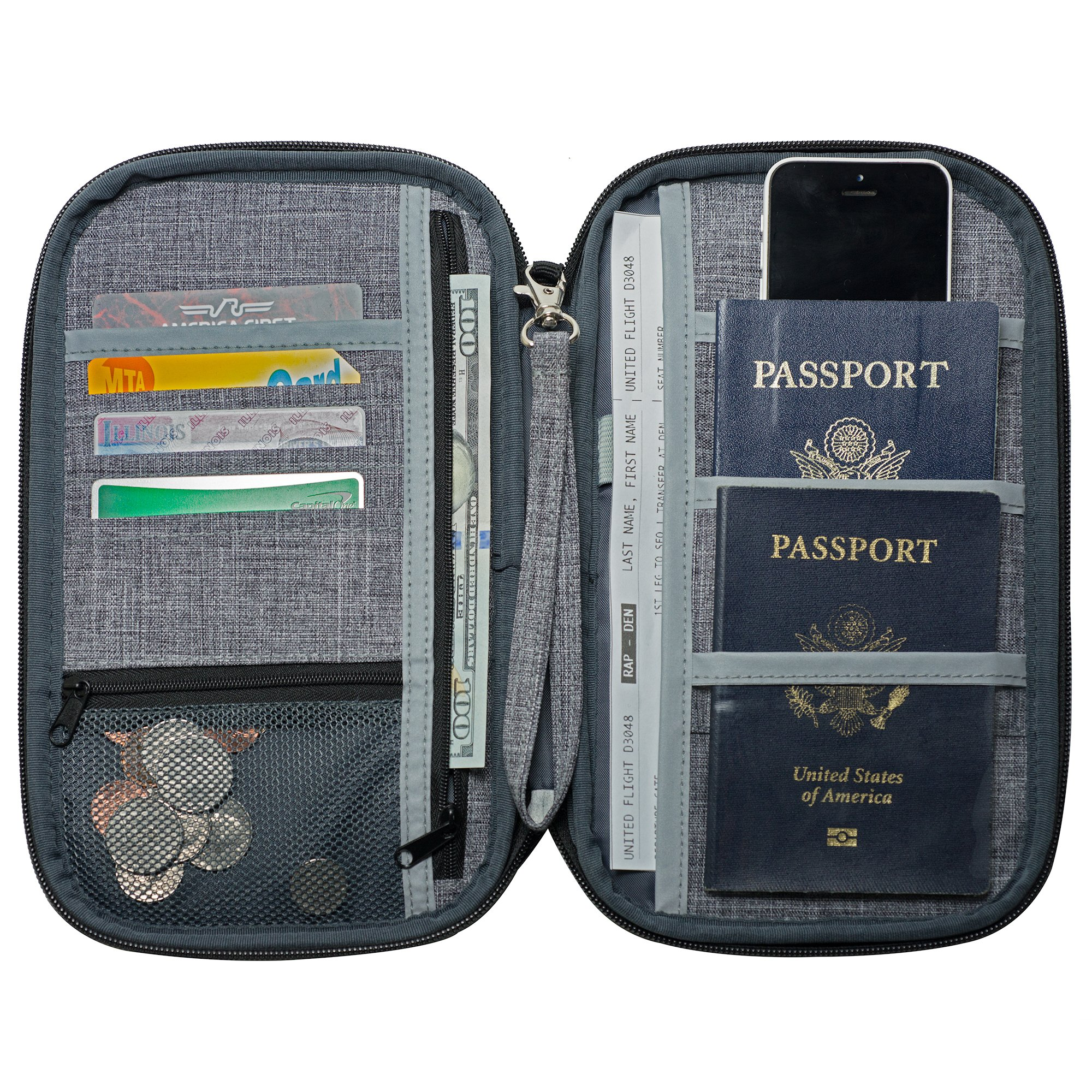 NeatPack RFID Travel Wallet, Document Organizer & Passport Holder, Grey