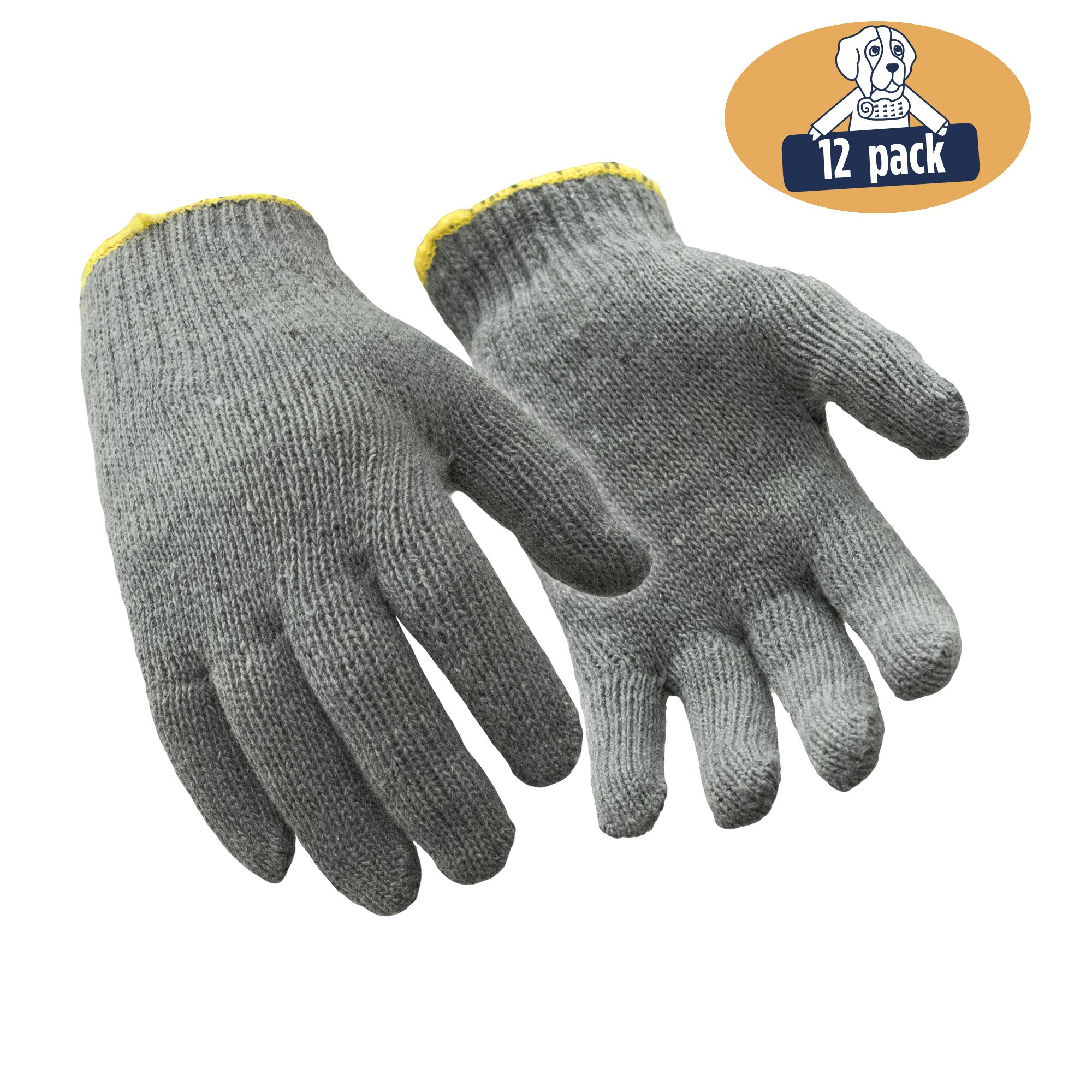 RefrigiWear Midweight String Knit Glove Liners, Pack of 12 Pairs (Gray, Large)