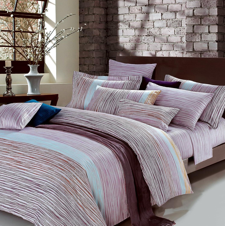 Geometric line design duvet quilt cover cool modern geo print cotton bedding set striped ombre multi color purple blue green taupe minimalist pattern king