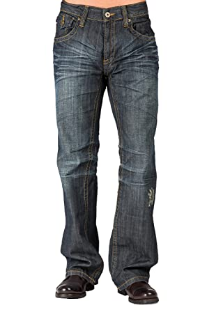 6c24ec44439 Level 7 Men's Relaxed Bootcut Dark Vintage Premium Denim Jean Zipper Trim  Pocket Size 36 X